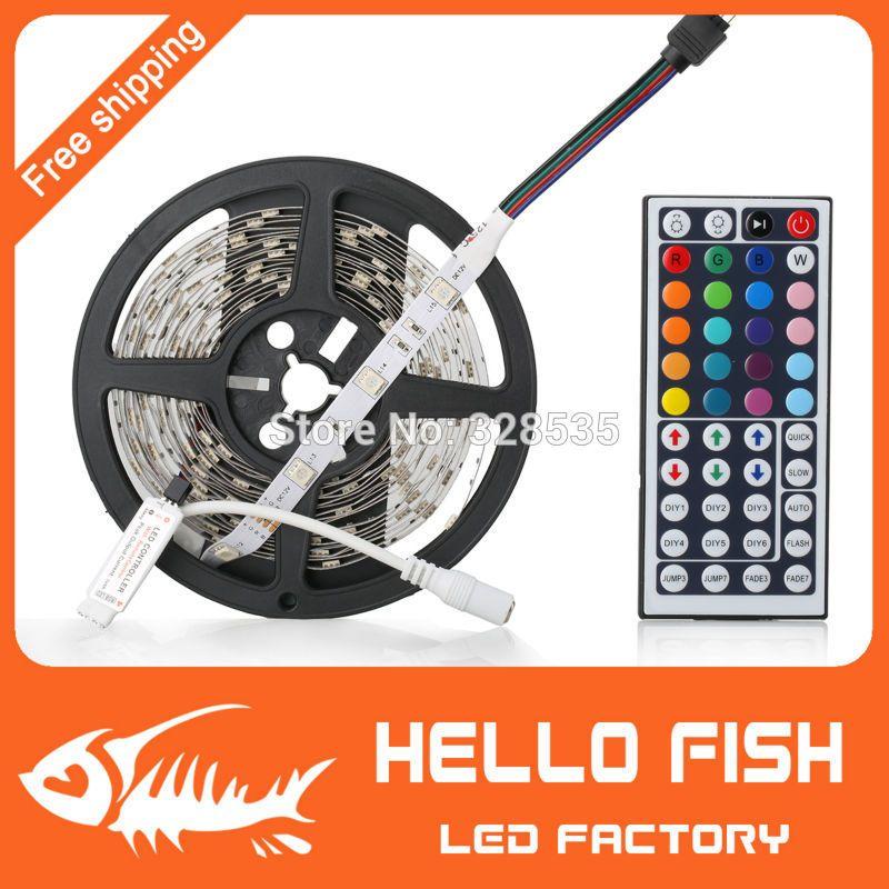 4.53$ (Buy here: http://alipromo.com/redirect/product/olggsvsyvirrjo72hvdqvl2ak2td7iz7/1759883166/en ) Hello Fish 5M 5050 RGB LED strip,150LED/m LED tape +24 key remote controller Kit, Free Shipping for just 4.53$