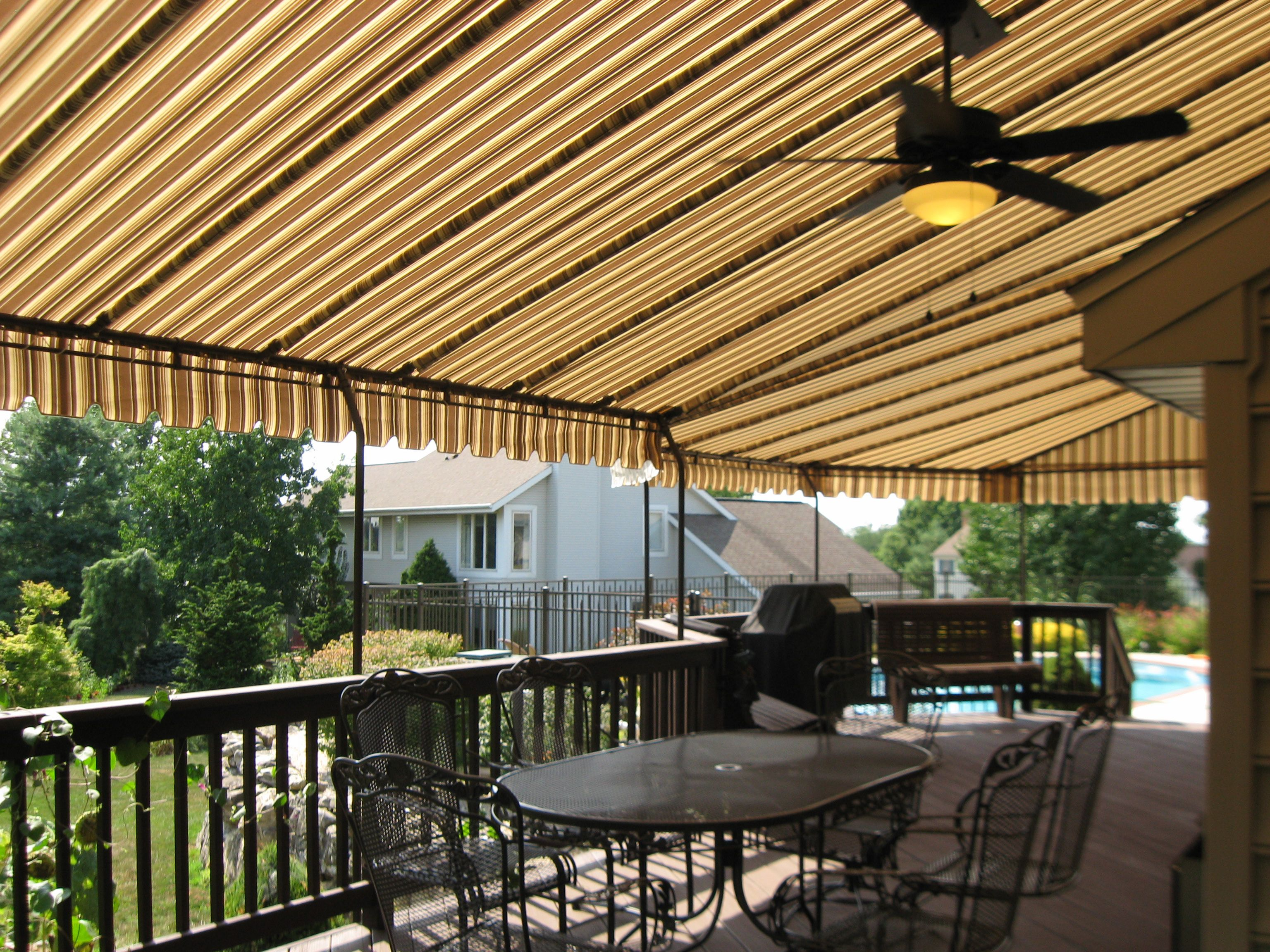 Our Custom Canopies Can Follow The Contour Of Your Deck Providing Maximum Coverage Kreider S Canvas Service 717 656 7387 La Custom Canopy Canopy Deck Canopy