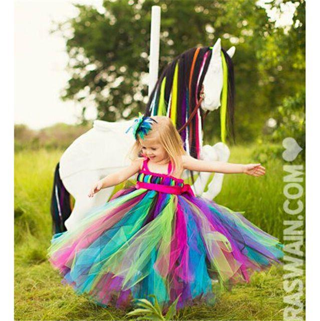 53a4a1242 Más nuevo arco iris florista tutú niñas vestido de tul pascua ...