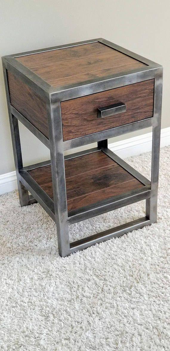 Industrial Bedroom Furniture: Industrial Reclaimed Wood Nightstand