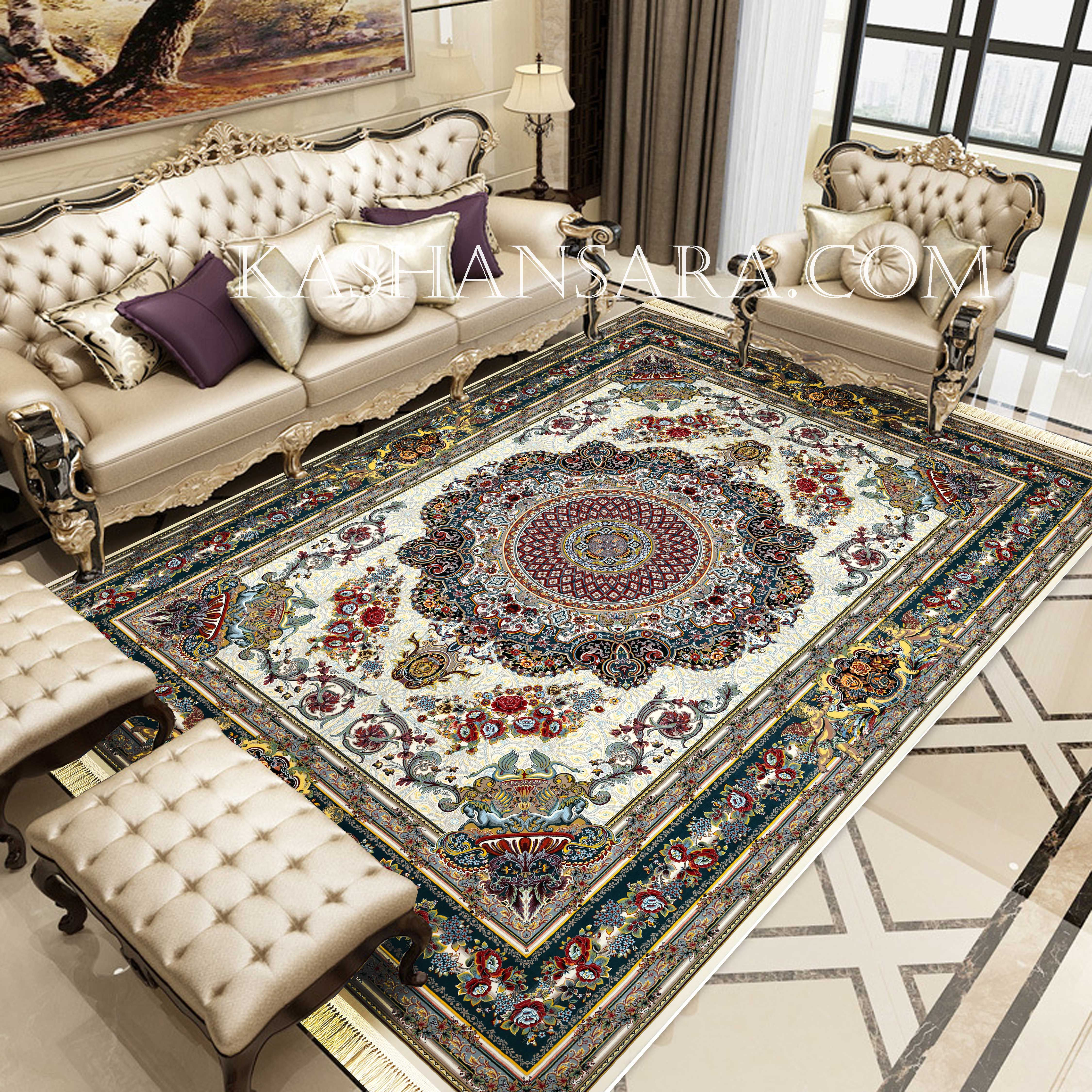 فرشته 1000 شانه کرم Living Room Carpet White Furniture Living Room Area Rug Decor