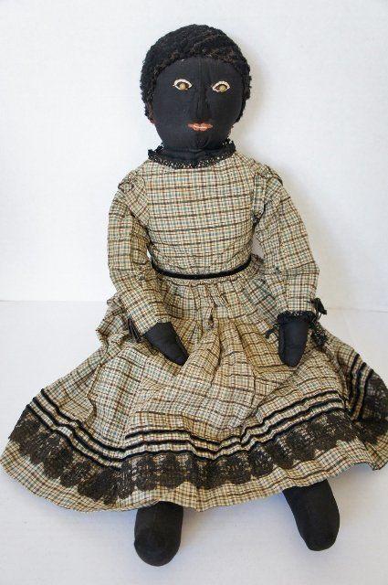 Antique Black Cloth Doll With Raised Nose Bead Eyes Nice Clothes Item 1307936 Detailed Views Folk Doll Vintage Rag Doll Folk Art Dolls