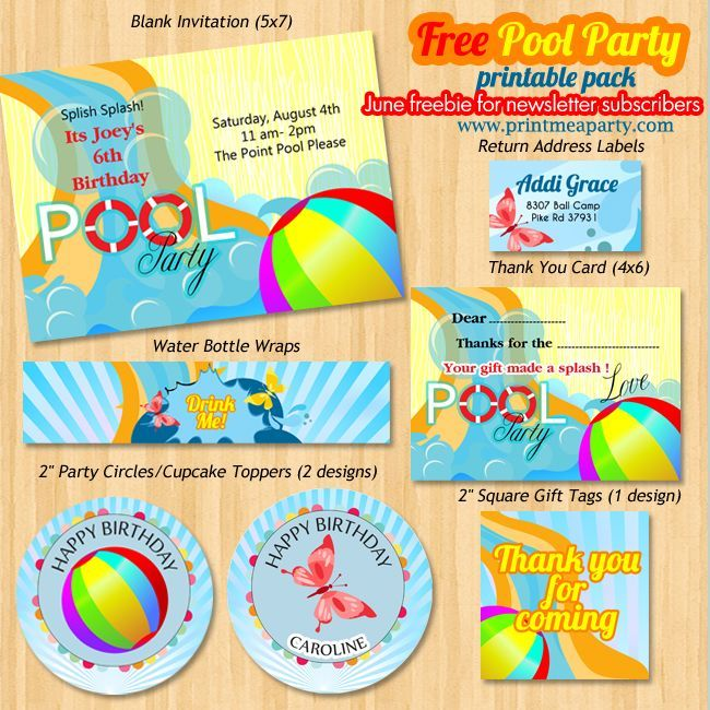 Free printable pool birthday party pack contains party invitation - printable return address labels free