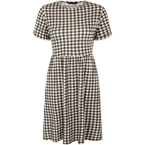 Black Gingham Check Short Sleeve Smock Dress ($25) ❤ liked on Polyvore featuring dresses, gingham smock dress, smocked dresses, mixed print dress, print dresses and gingham dress