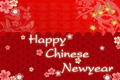 the cherry blossom fall everywhere and the firecrackers on happy chinese new year cards - Chinese Happy New Year