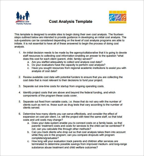 Cost Analysis Templates 7 Free Printable Word Excel Pdf