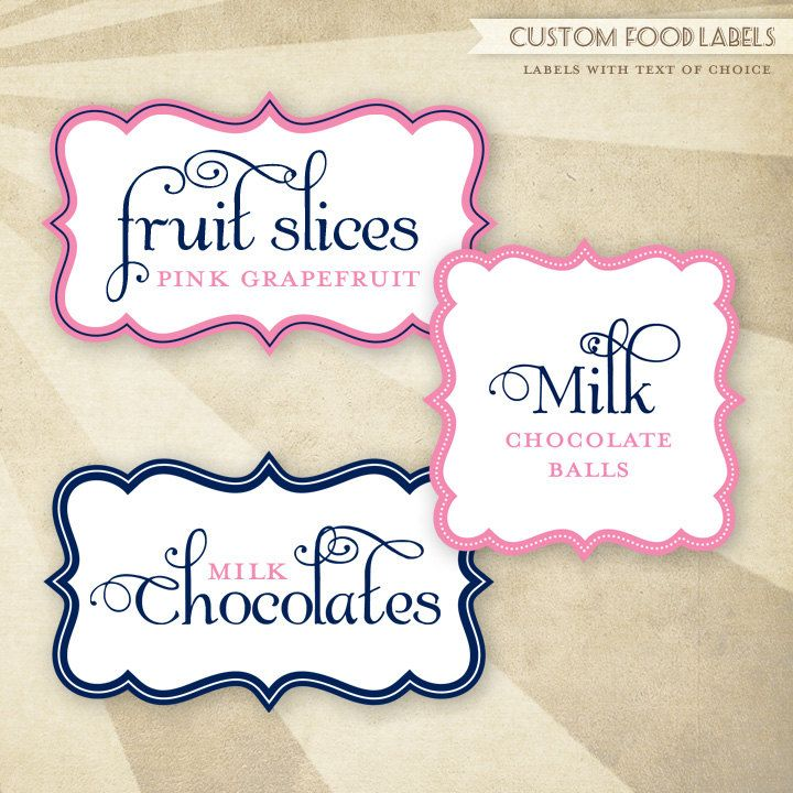 CUSTOM Color PRINTABLE Food Labels Cloud Shapes Pink and by HWTM ...