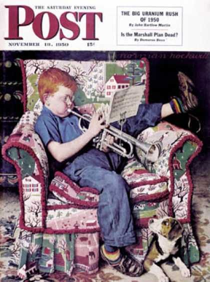 """Saturday Evening Post - 1950-11-18: """"Trumpeter"""" (Norman Rockwell)"""