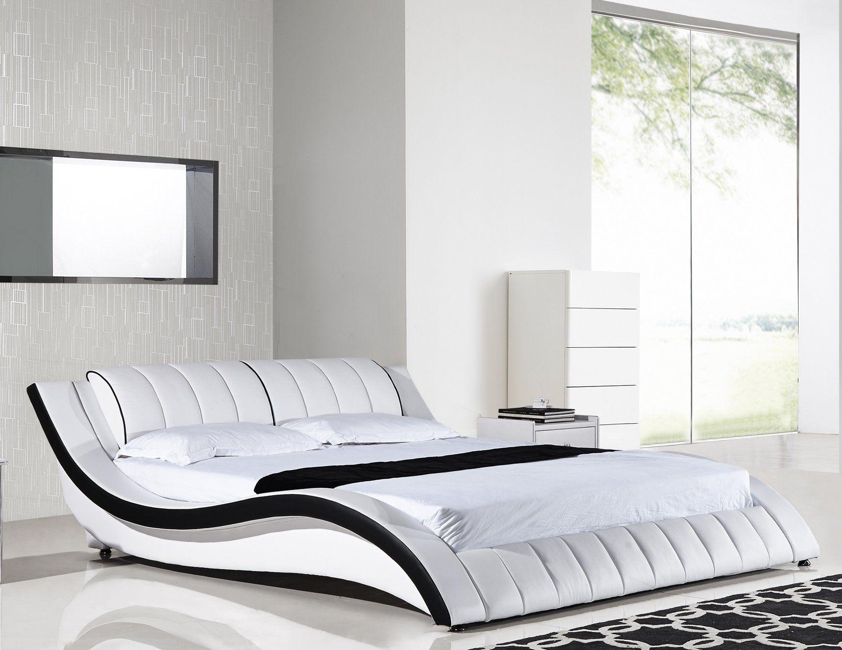 American eagle b d030 q modern white queen platform bed in - White queen platform bedroom set ...