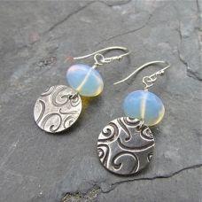 Opalite Swirl Earrings. Love the swirl patter.  www.pamhurst.com
