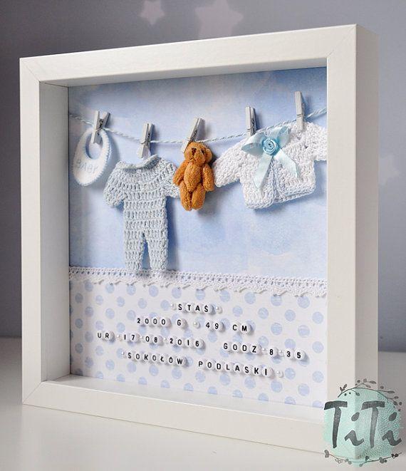 Baby-Dekorrahmen New Baby-personalisierte Box Frame von TiT … – Baby deko