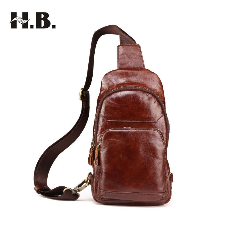 bd02c8d90e HIBO Men Crossbody Bags High Quality Genuine Leather Bag for Men Casual Messenger  Chest Pack Bags Free Shipping Men s Travel