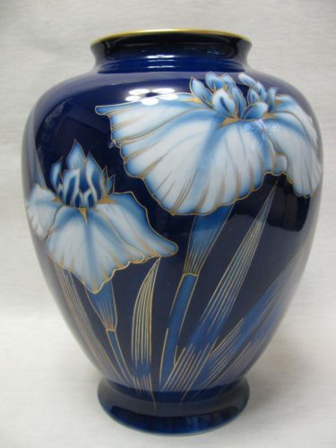 Japanese Fukagawa Vase Iris With Box Iris Japanese And Box
