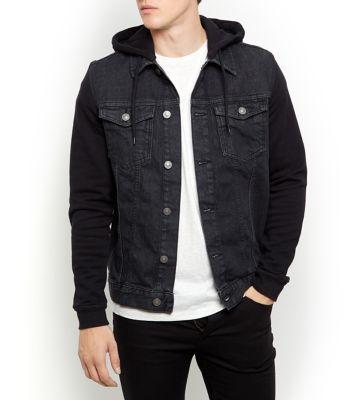 Jersey Sleeve Hooded Denim Jacket