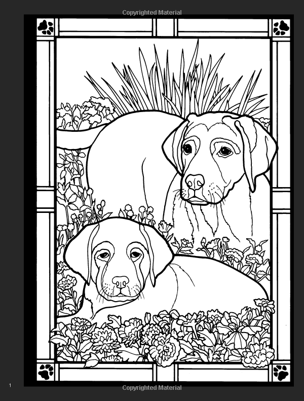 Dogs Stained Glass Coloring Book Dover Nature Ruth Soffer