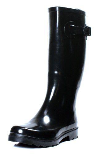 275532b5cd4 Henry Ferrera Womens Classic Black Glossy Waterproof Rubber Rain ...