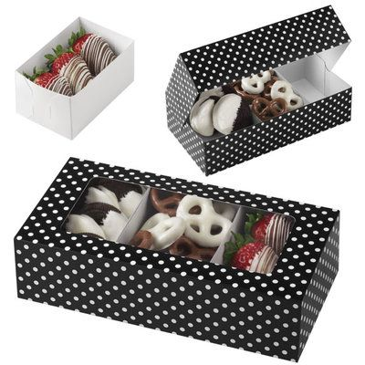 Wilton Black with White Dots Rectangular Treat Box with 3 Removable Trays, 3 sæt