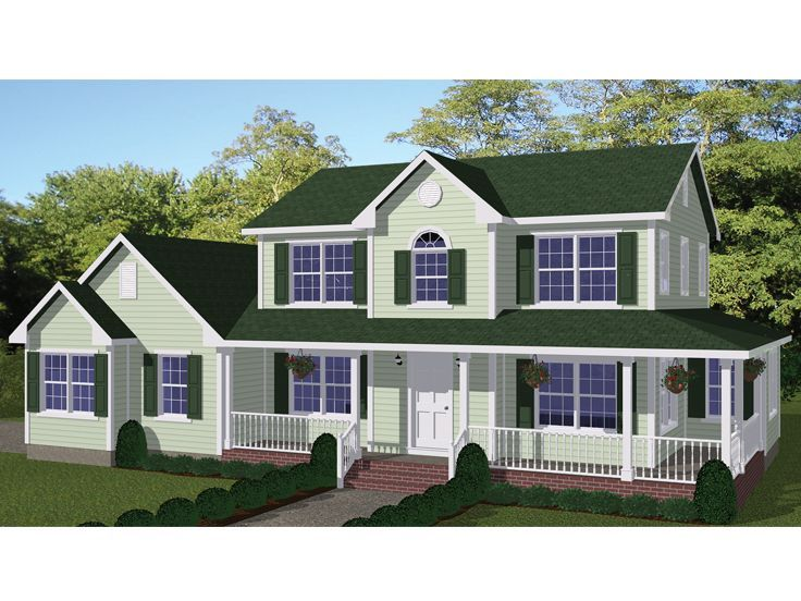 078H0074 TwoStory Country House Plan Features Wrap