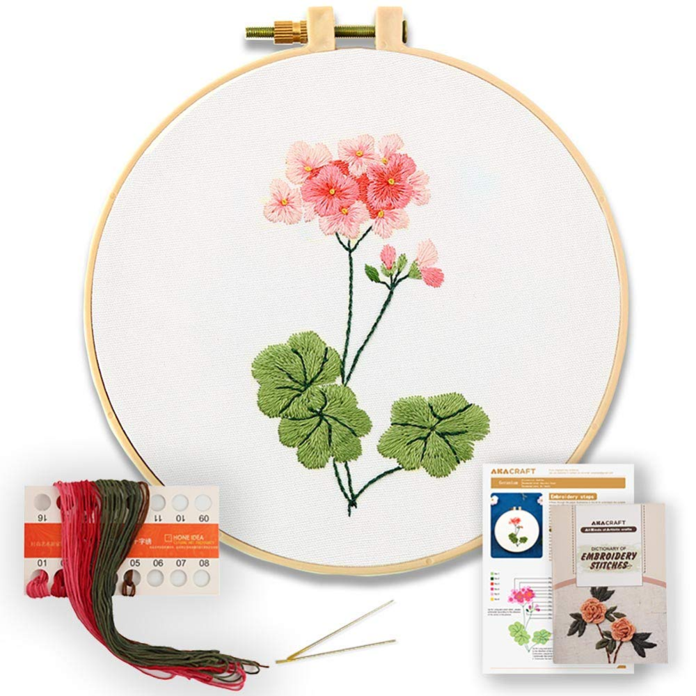 Island Full Range of Embroidery Starter Kits Stamped Cross Stitch Kits Beginners for DIY Embroidery with 40 Pattern Designs