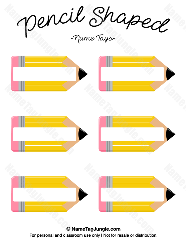 Free printable pencil shaped name tags the template can for Preschool name tag templates