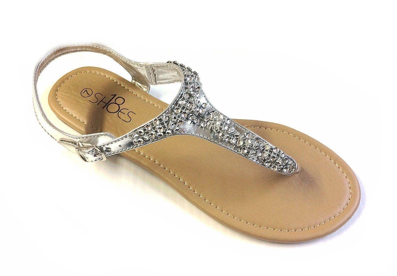 Womens T Strap Gladiator Sandals Flats shoes W Iridescent Rhinestones