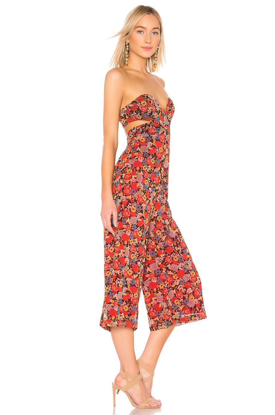 3dfaa0d97630 House of Harlow 1960 X REVOLVE Joelle Jumpsuit in Red Mixed Floral | REVOLVE  Strapless Dress