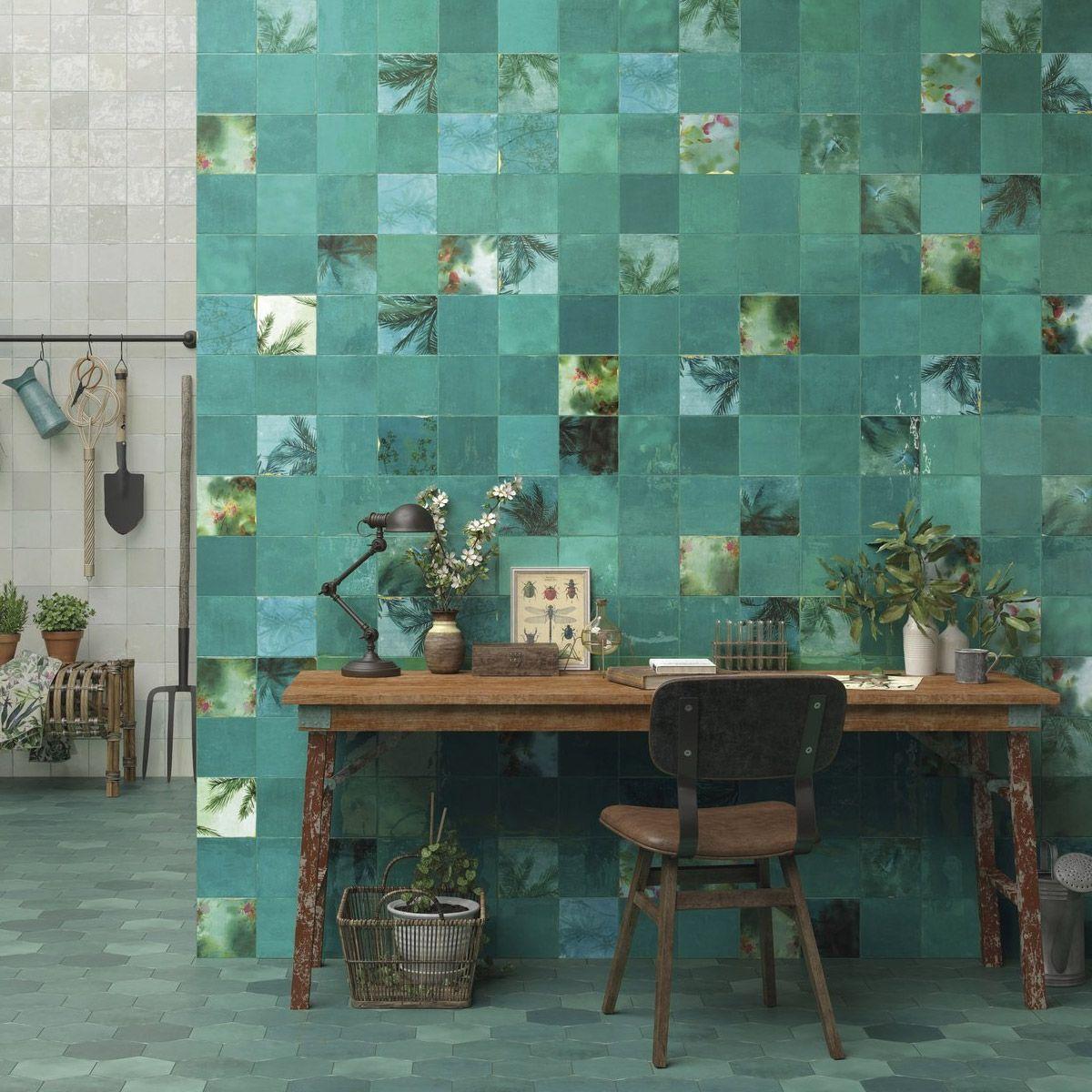 zellige teal  zellige tile patterned bathroom tiles