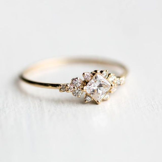 Antique 18K Gold Filled White Sapphire Gemstone Ring Wedding Women Jewelry Rings - Accessoires - #18k #Accessoires #Antique #filled #Gemstone #Gold #Jewelry #Ring #Rings #Sapphire #wedding #White #Women #gemstonejewelry