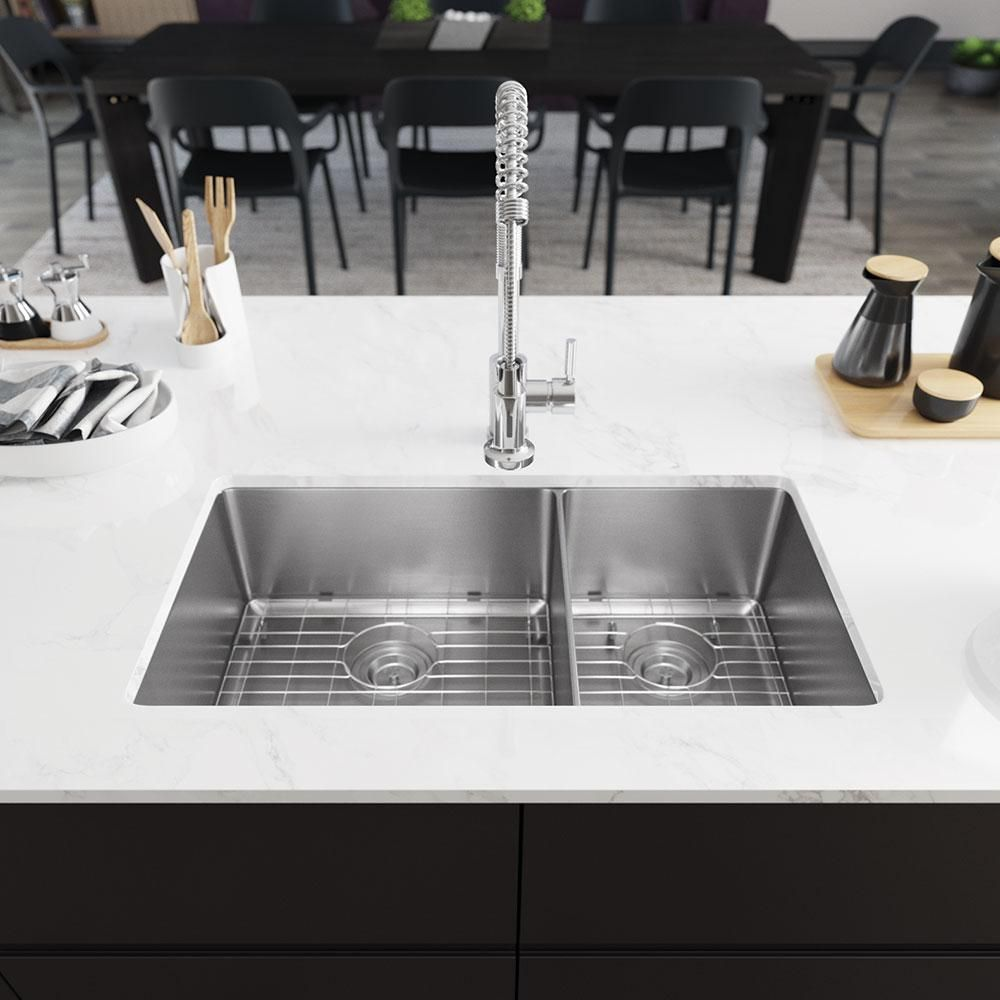 Rene All In One Undermount Stainless Steel 31 1 8 In 60 40 Double Bowl Kitchen Sink Silver In 2020 Sink Undermount Stainless Steel Sink Double Bowl Kitchen Sink