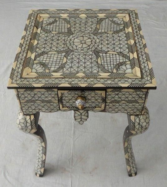 Syrian Mother Of Pearl Wood Coffee Table With A Drawer E Kenoz
