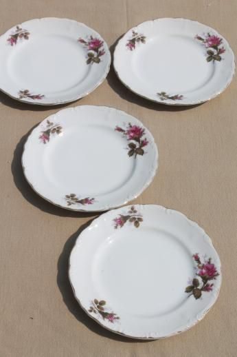vintage Japan moss rose china plates tea service cake plates set of four & vintage Japan moss rose china plates tea service cake plates set of ...
