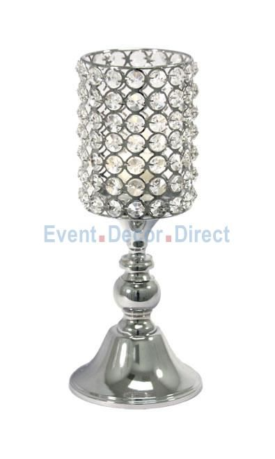 Real Crystal Cylinder Candle holder Pedestal- 12.5 tall x 5 wide - Event Decor Direct - North