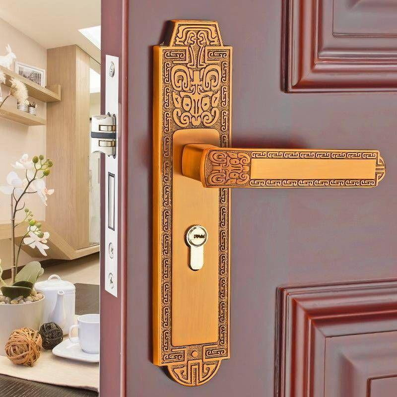 European Interior Bedroom Door Lock Mechanical Door Lock Household Mute Solid Wood Door Handle