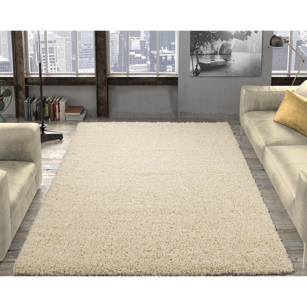Ottomanson Contemporary Solid Beige 8 Ft X 10 Ft Shag Area Rug