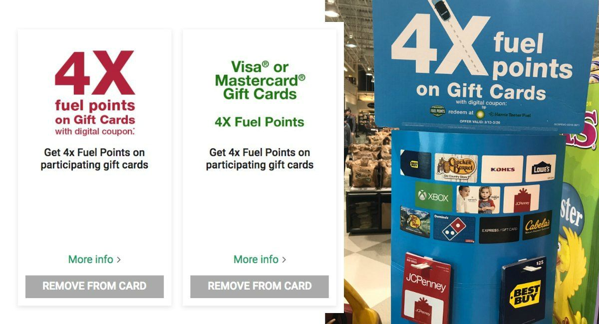 4x fuel points on gift cards 524 527 at harris teeter