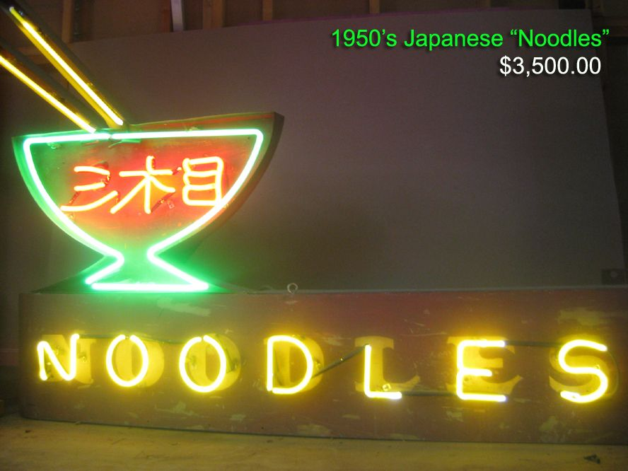 Vintage 1950 S Japanese Noodles Neon Sign Dimensions Appx 6ft X 4 Ft Inches Vintage Neon Signs Neon Signs Neon Signs For Sale