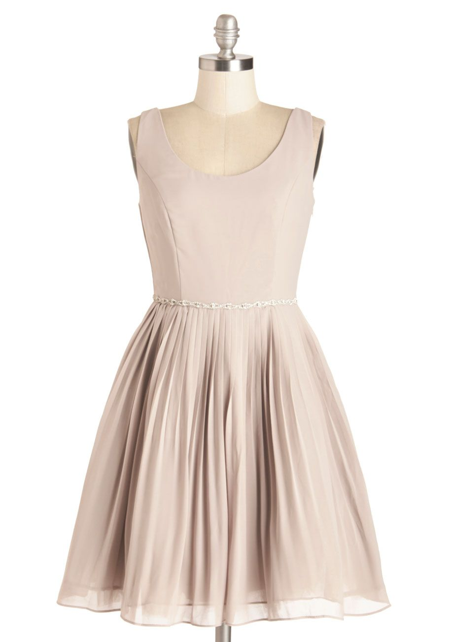 99c904cfb7577d Sage a Dance Dress in Mist. Under the festive gold lights, you swirl in  your grey chiffon party dress, letting the rhinestone band around your  pleated ...