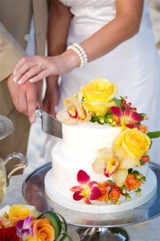 Tropical flowers to match the bridal bouquet are always a nice touch!  Ceremonies of St John  www.usviwedding.com