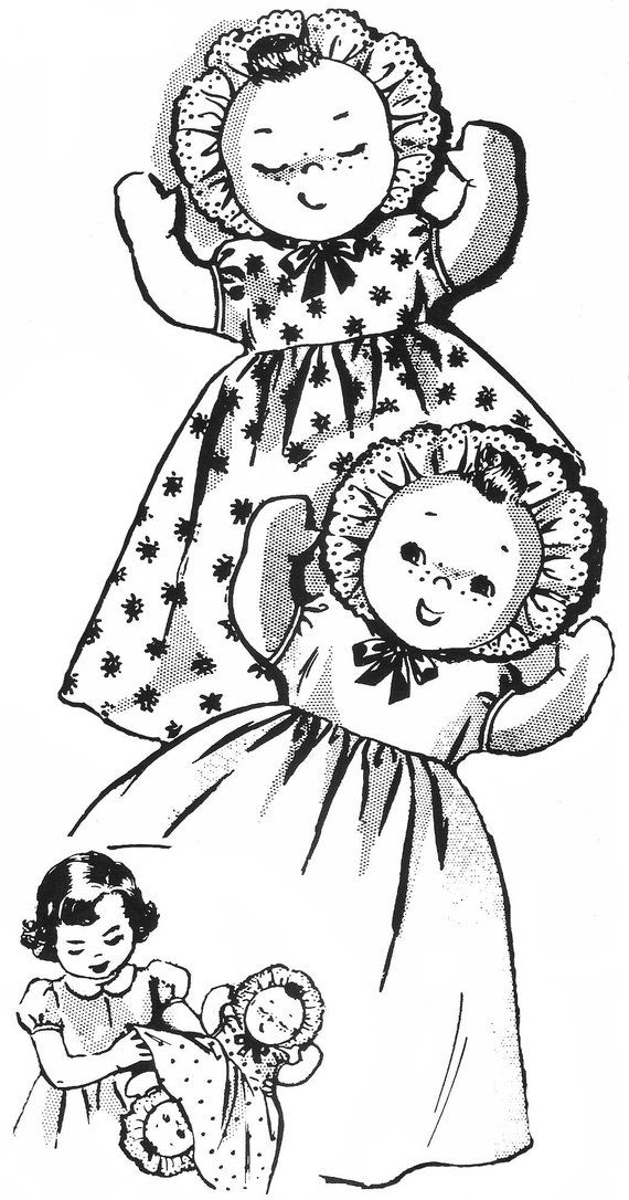 Cloth Doll Pattern, Topsy Turvy Doll, Doll Clothes Pattern