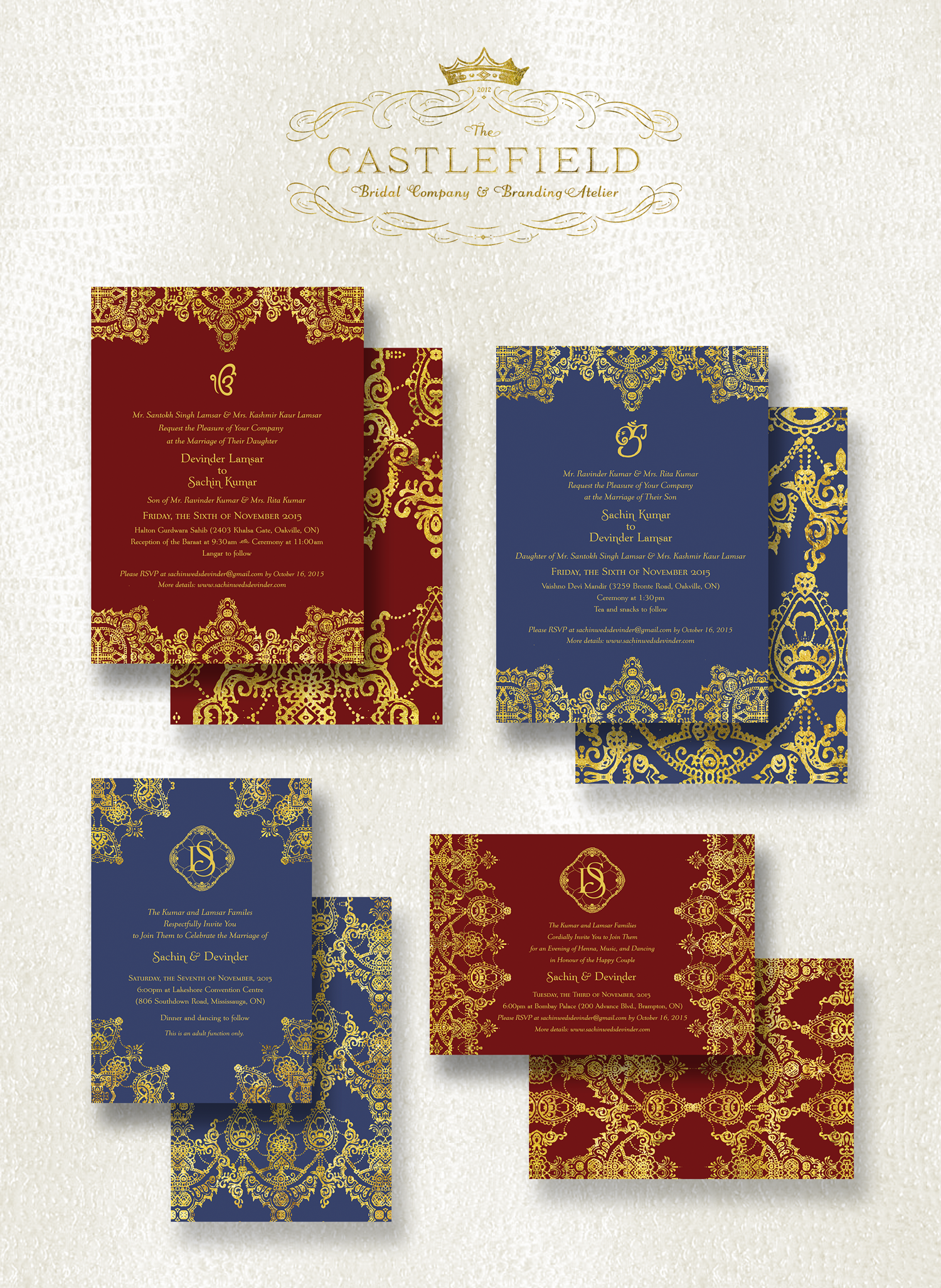 Henna Pattern Indian Wedding Invitations by Castlefield Couture ...