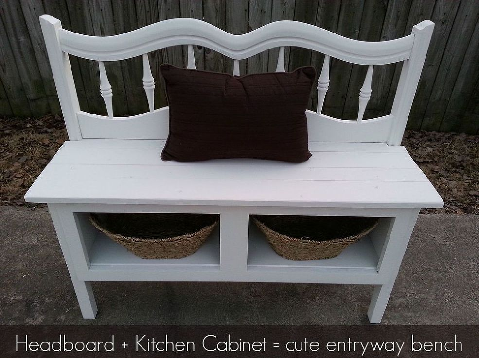 Headboard and a Kitchen Cabinet Make a Great Bench With Storage ...