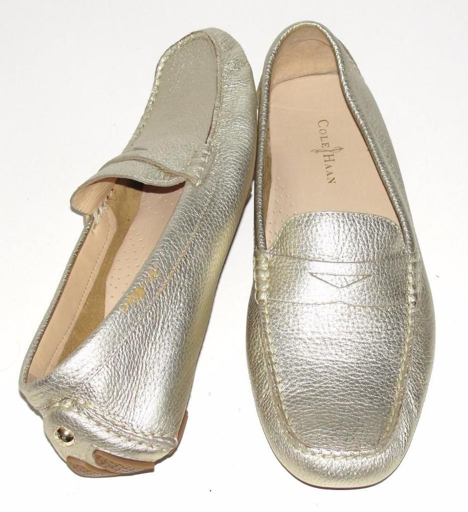 c523e7e96d9 COLE HAAN~NWOB~METALLIC GOLD~SOFT PEBBLED LEATHER  TRILLBY DRIVER  LOAFER  FLAT~9  ColeHaan  TrillbyDriverSoftGoldLeatherFlatsComfort   ...