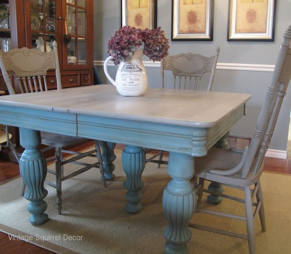 Antique Table And Chairs Painted In Annie Sloan Provence, Paris Grey And  Washed In French
