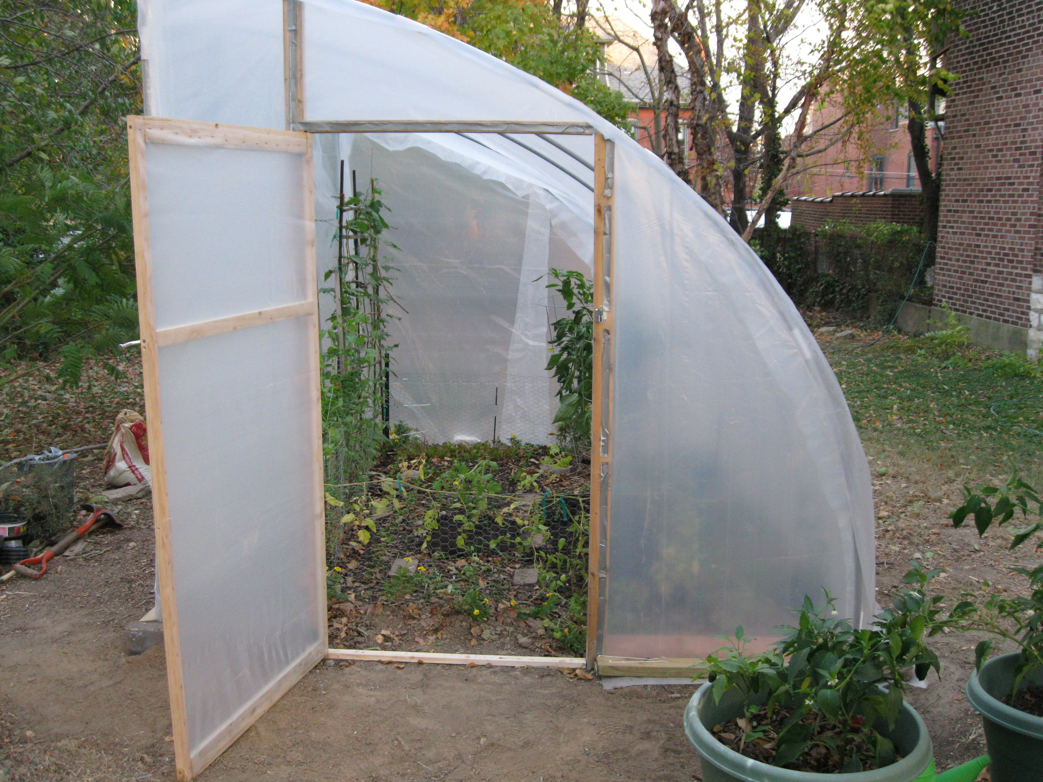 half hoop house or semi hoop great idea for placing against a