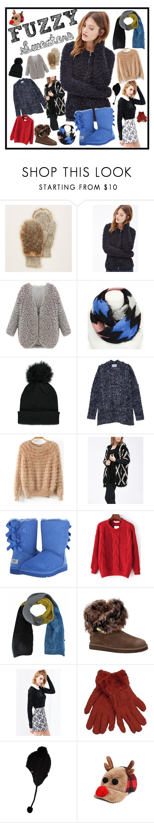"""Fuzzy Sweaters"" by cookierevolt on Polyvore featuring Aerie, Forever 21, Leto, Olive + Oak, Simply Couture, UGG Australia and The North Face"
