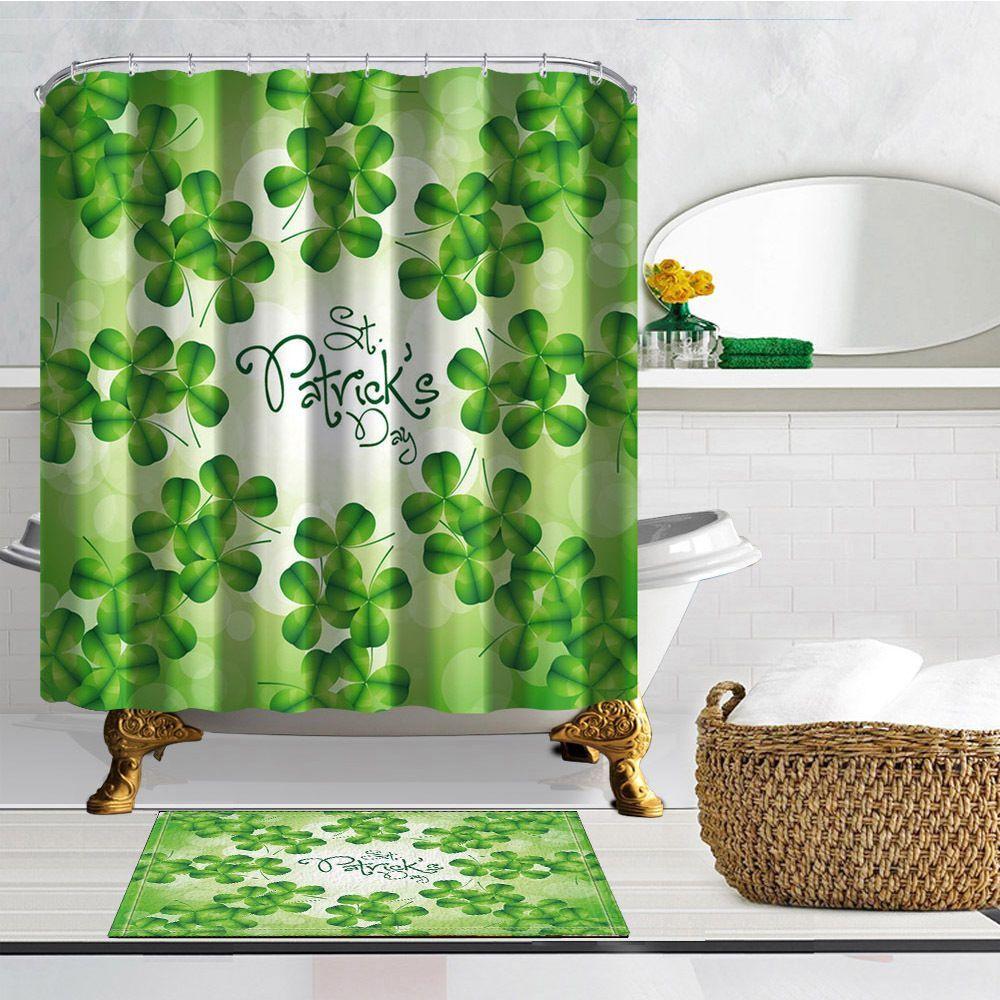 Happy St Patrick Day Shower Curtain Flannel Bath Mat Contour