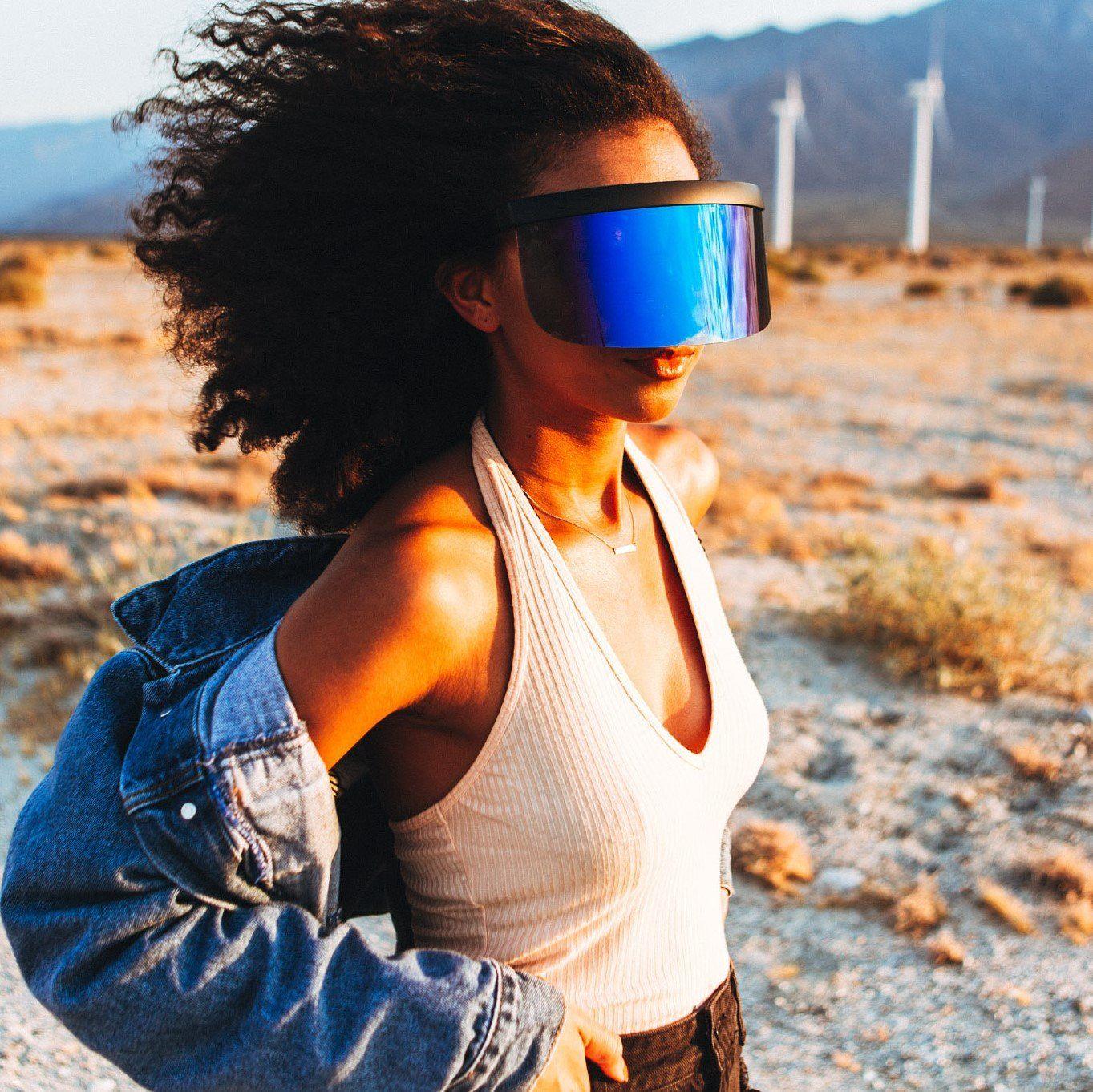 5401a8632098 Oversized full shield visor sunglasses in 2019 | Chic | Sunglasses ...