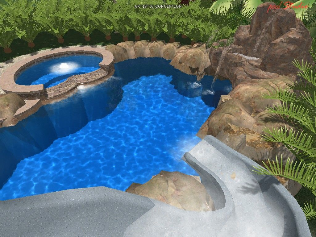 This Natural Outdoor Pool Design With Slide Image Is Categorized Within