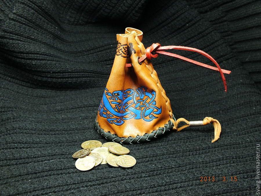 Купить Кошелек для мелочи - рыжий, орнамент, славянский стиль, славянская символика, кошелек, мешочек для подарка