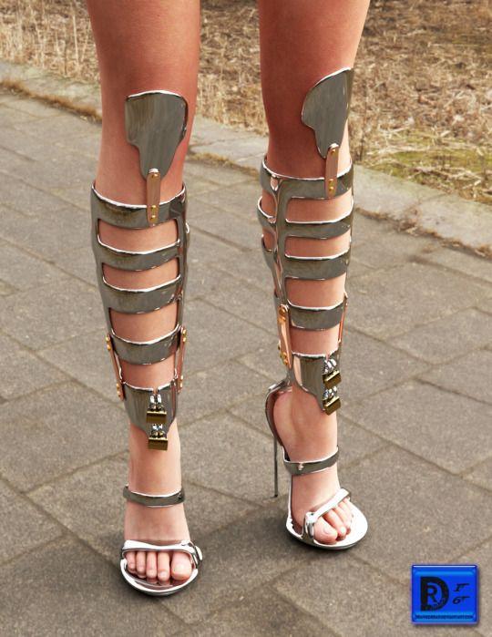 Bdsm metal high heels